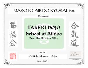 Takeki Dojo MAK Member Certificate